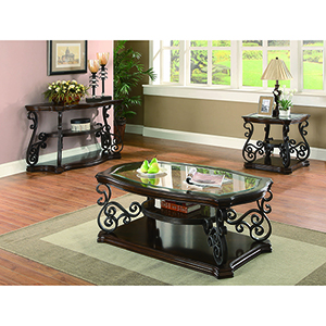 Dark Brown Coffee Table with Tempered Glass Top