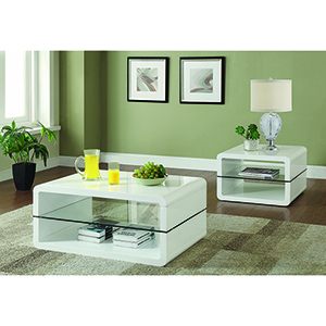 White and Transparent Coffee Table with Two-Shelf