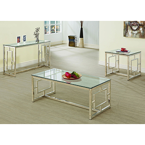 Nickel and Transparent Coffee Table with Glass Top and Geometric Motif