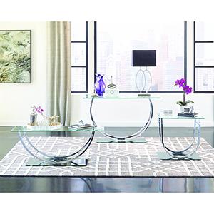 Chrome U-shaped End Table
