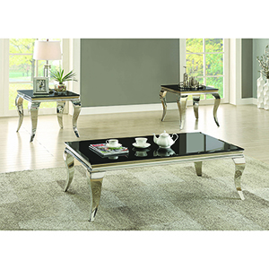 Chrome and Black Coffee Table with Queen Anne Legs