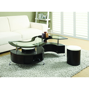 Cappuccino Coffee Table and Upholstered Stools