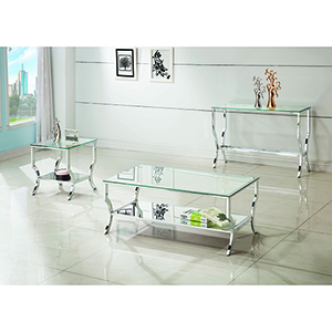 Chrome Rectangular Sofa Table with Mirrored Shelf