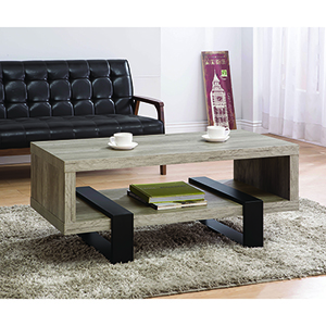 Grey Driftwood Open Shelf Coffee Table