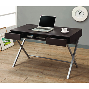 Cappuccino Connect-It Writing Desk with Built-In Outlet Storage Compartment