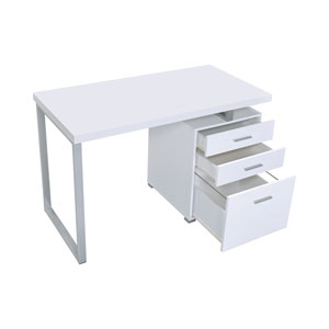 White and Silver Writing Desk with File Drawer and Reversible Set-Up
