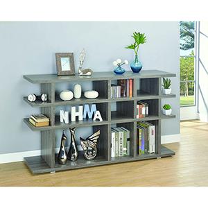 Weathered Grey Three-Tier Bookcase