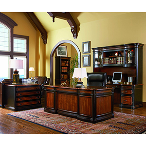 Espresso and Chestnut Double Pedestal Executive Desk with Felt Lined Drawer
