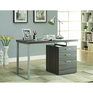 Weathered Grey Office Desk with File Drawer and Reversible Set-Up