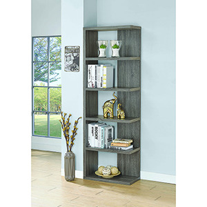 Weathered Grey 5-Tier Semi-Backless Bookcase