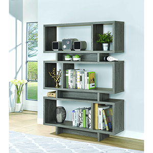 Weathered Grey Three-Tier Open Bookcase