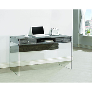 Weathered Grey Writing Desk with Glass Side