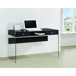 Glossy Black and Transparent Writing Desk with Glass Sides