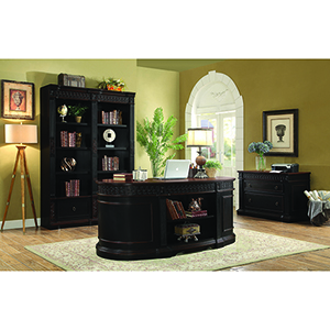 Black and Chesnut Oval Double Pedestal Executive Desk