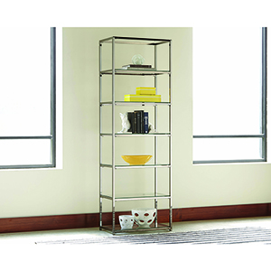 Black Nickel and Transparent Six-Shelf Bookcase
