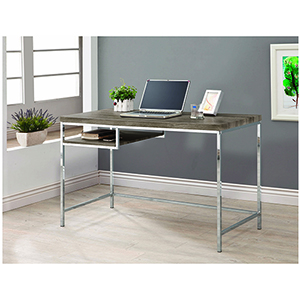 Grey and Chrome Rectangular Writing Desk with Shelf