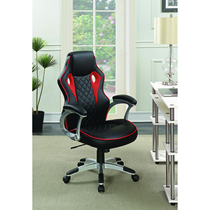 Black and Red Upholstered Office Chair