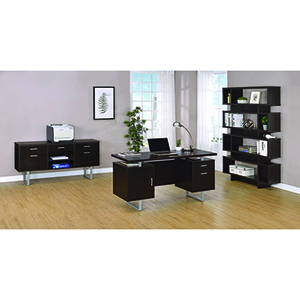 Cappuccino Double Pedestal Office Desk with Metal Sled Legs and Floating Desk Top