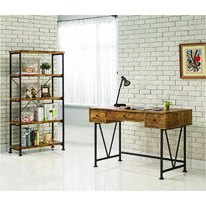 Antique Nutmeg and Black Wood and Metal Open Bookcase