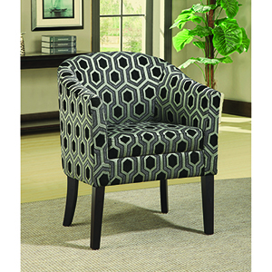 Black Grey and White Hexagon Patterned Accent Chair