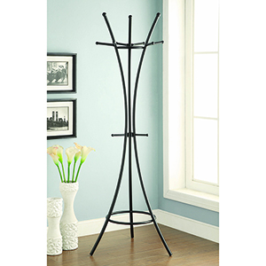 Black 12-Hook Coat Rack