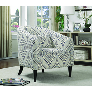 Multi-Color Curved Upholstered Chair with Pillow