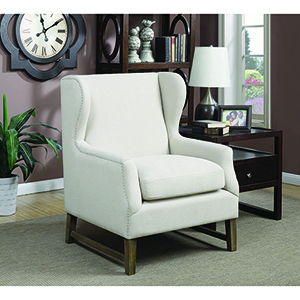 Weathered Brown Accent Chair with Wing Back Design Cream