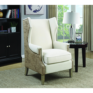 Weathered Brown Accent Chair with Wing Back