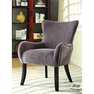 Grey and Espresso Accent Chair with Curve