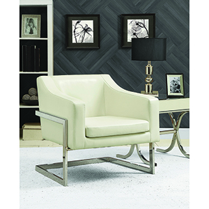 Off White and Chrome Upholstered Accent Chair