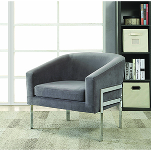 Grey and Chrome Accent Chair with Exposed Frame