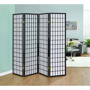 Dark Grey Four-Panel Folding Screen