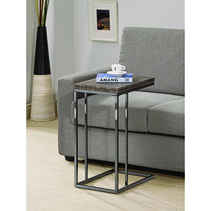 Weathered Grey and Black Nickel Snack Table