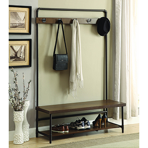 Coffee and Black Hall Coat Rack with Storage Bench
