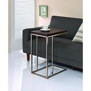 Chestnut Snack Table with Expandable Rotating Top