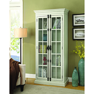 White and Transparent Two-Door Curio Cabinet
