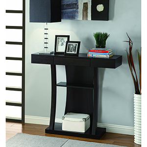 Cappuccino T-Shaped Console Table with Two Shelf