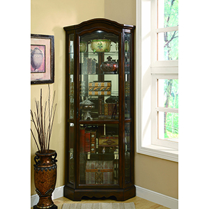 Brown and Transparent Medium Five-Shelf Corner Curio Cabinet