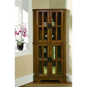 Brown Four-Shelf Corner Curio Cabinet