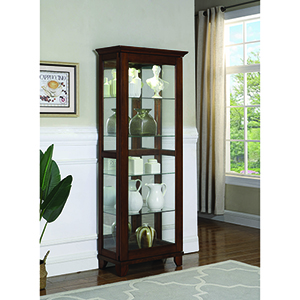 Brown Five-Shelf Curio Cabinet with Mirrored Back