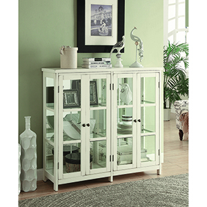 White and Transparent Accent Display Cabinet