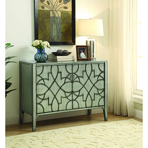 Silver Accent Cabinet with Carved Door