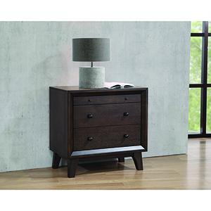 Brown Oak Three-Drawer Nightstand