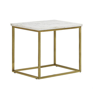 Isabelle White Glass Top End Table