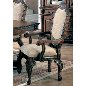 Saint Charles Dining Arm Chair with Upholstered Seat and Seat Back, Set of 2