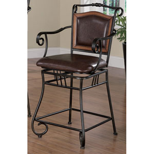 Brown 24-Inch Metal Bar Stool with Upholstered Seat