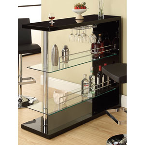 Black Rectangular Bar Unit with Two Shelves and Wine Holder