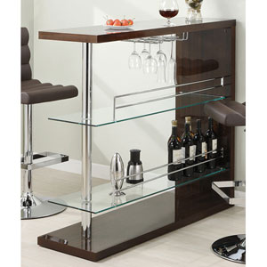 Cappuccino Rectangular Bar Unit with Two Shelves and Wine Holder