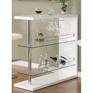 White Rectangular Bar Unit with Two Shelves and Wine Holder