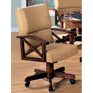 Marietta Beige Upholstered Arm Game Chair